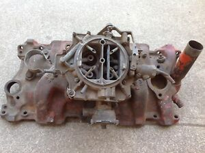 Vintage Gm 1957 Chevy Small Block Intake Manifold 3731398 W 4 Barrel Rochester