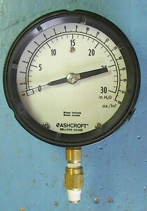 Ashcroft Low pressure Brass Bellows Gauge 0 To 30 4 1 2 Inch Face