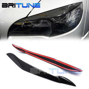 Carbon Fiber Eyelids Trim Eyebrow For Bmw X5 E70 Headlight Retrofit Accessories