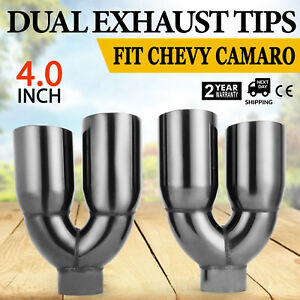 Pop Dual 4 0 Quad Staggered Gloss Black Exhaust Tips For Ford Mustang Top1