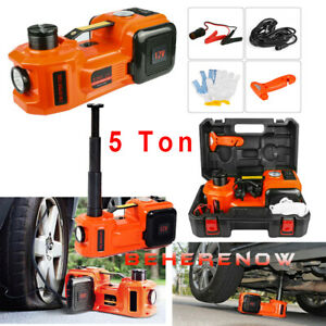 Car Jack 12v Dc 5 Ton Electric Hydraulic Jack Floor Lift And Tire Inflator Pump