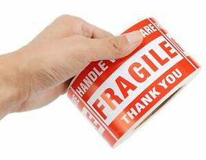 1 100 Rolls 3 x5 Bright Red Fragile Stickers Shipping Packaging Warning Label