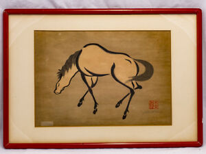 Four Japanese Woodblock Prints Of Horses By Mikuchu