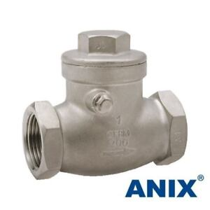 1 Inch Swing Check Valve Threaded Npt 200 Wog Stainless Steel 316 Swing Type