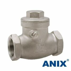 2 1 2 Inch Stainless Steel 316 Swing Check Valve Npt 200wog