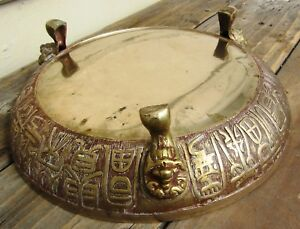Very Fine Antique Chinese Censor Brass Bronze Footed Bowl W Calligraphy
