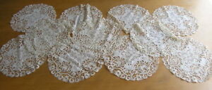 Antique Ancient Linen Lace Embroidery Figural Round Doily 10 11 Available