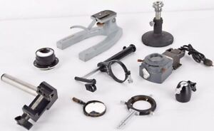 Lot 9 Mix Misc Lab Microscope Parts Base Condenser Mirror Holder Stand Clamp