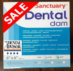 5 Box 180 Pcs Sanctuary Dental Rubber Dam Latex 6x6 Sheet Thin Mint Green 36 pk