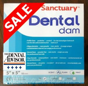 5 Box 260 Pcs Sanctuary Dental Rubber Dam Sheets Latex 5x5 Thin 52 pk Blue