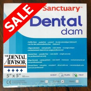 5 Box 260pcs Sanctuary Dental Rubber Dam Latex 5x5 Medium Mint Sheet Green 52 pk