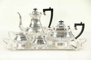 Sheffield English Silver Plate Antique 5 Pc Set Coffee Tea Service 29502