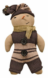 Primitive Snowman Doll W Knit Sweater Hat Country Christmas Ornie 9 New