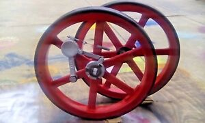 Vtg Hit Miss Set Of Flywheels W Governor Fit 5 6hp Detroit Engine Works 2 cycle