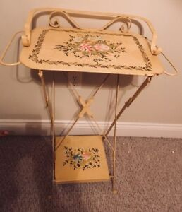 Rare Vintage Tole Folding Hand Painted Wash Stand