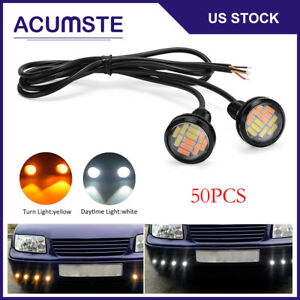 50pc White amber 12v 15w Eagle Eye Led Car Daytime Running Drl Turn Backup Light