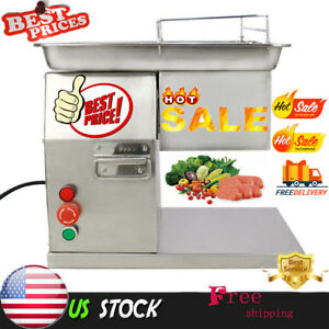 110v Stainless Commercial Meat Slicer Cutting Machine Cutter 250kg h 3mm Blade