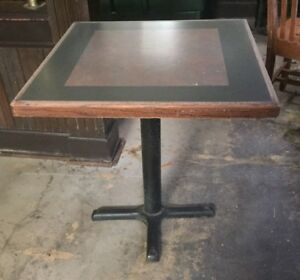 Used Restaurant Wooden Table With Cast Iron Support 45 Available