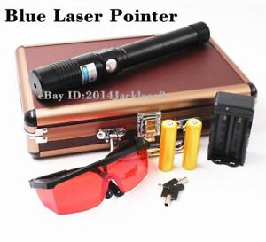 Powerful Blue Laser Pointer Hunting Lazer 5000lm Laser Pen Burning Match 2x18650