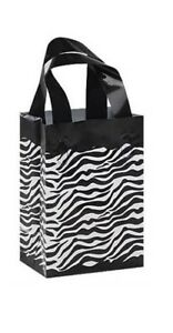 100 Wholesale Small Zebra Print Frosted Plastic Shopping Bags