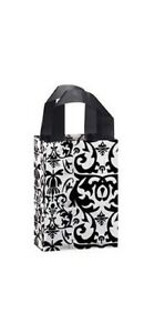 100 Wholesale Small Black Damask Frosted Plastic Shopping Bags