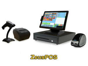 Retail Point Of Sale System Zeus Pos Hardware Bundle W Label Printer