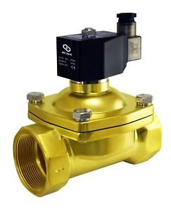 Brass Zero Differential Electric Solenoid Air Gas Water Valve 2 Inch 110v Ac Nc