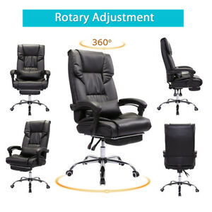 High Back Executive Office Chair Black Artificial Leather Recliner W Footrest