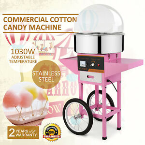 Electric Cotton Sugar Candy Floss Maker Machine W cart cover Works Continually