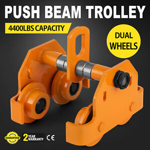 2 Ton Push Beam Track Roller Trolley Washers Included Handling Tool Crane Lift
