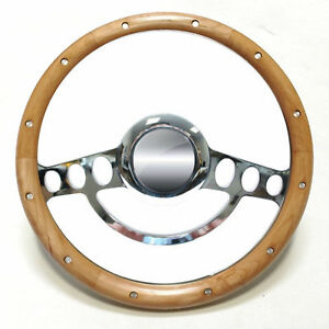 Nostalgia Real Wood Steering Wheel For Flaming River Ididit Gm Column 9 Hole