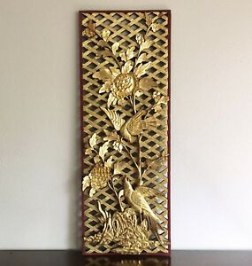 Large Chinese Carved Gilt Wood Panel Screen Birds Peonies 1950s Prc 38 Inch