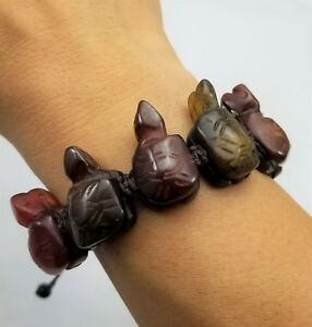 Turtle Bracelet Jade Hand Carved Hand Made Macrame Knotted