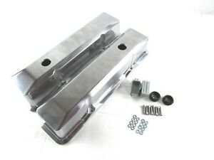 Small Block Chevy Tall Smooth Polished Aluminum Valve Covers Retro E41013