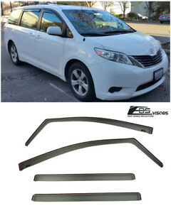 For 11 Up Toyota Sienna In Channel Smoke Tinted Side Window Visors Deflectors