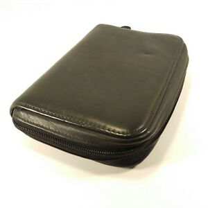 Day timer Portable Black Leather 6 Ring Planner Zip Fits Filofax Personal Pages