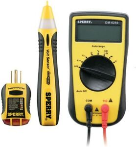 Sperry 3 piece Professional Electrical Tester Kit Multi meter Circuit Recepticle