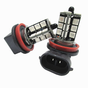 Pair 9005 Colorful 5050 27smd Rgb Led Fog Lights Daytime Running Bulbs Lamps Us