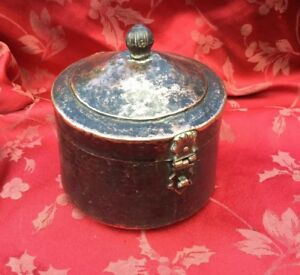 Fine Beaten Copper Lidded Islamic Middle Eastern Food Container Nice Clasp