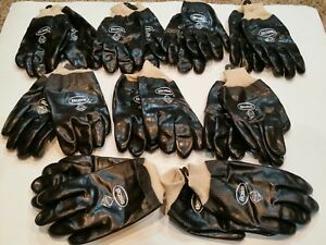 New Boss Men s Smooth Black Grip Pvc Gloves Lined Knit Wrist Lot Of 9 Pairs