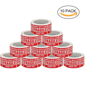 10 Rolls Obvious Size 3 x5 Fragile Products Sticker Warning Labels White Red