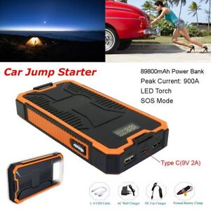 Jump Starter Car Power Battery Bank Charger Booster 12v Emergency 4 Usb Tool Kit