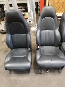 1998 Corvette C5 61k Oem Front Seats Black Leather Power