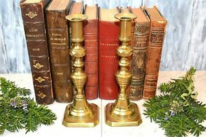 Antique English Pair Brass Push Up Candlesticks Beehive Faceted Candle Holders