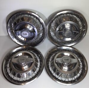 Set Of 4 1962 1964 Chevrolet Chevy Ii Corvair Nova Spinner Wire Hubcaps 2 Bar