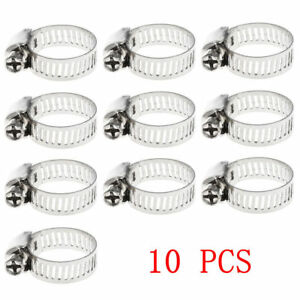 10pcs Pack 3 8 5 8 Stainless Steel Drive Hose Clamp Fuel Line Worm Clip