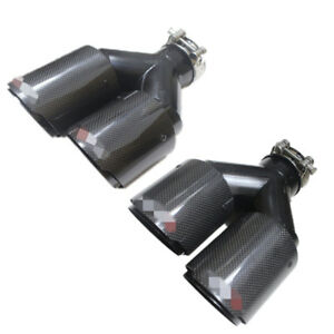 Pair Gloss Black Carbon steel Exhaust Tip 2 5 Inlet Dual Pipe Muffler Trim L r