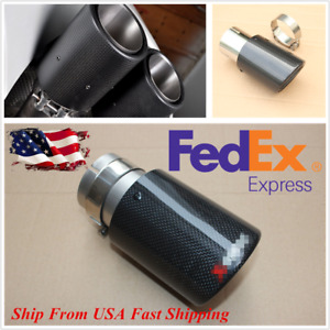 2 5 Id Carbon Fiber Glossy Black Car Exhaust Muffler Tail Tip Pipe Us Shipment