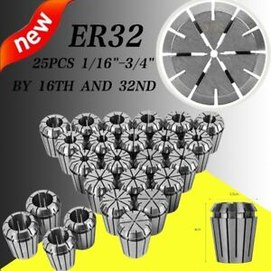 Er32 Collet 25pc Set 1 16 3 4 By 16th And 32nd Accurate New Bp