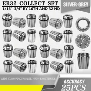 Er32 Collet 25pc Set 1 16 3 4 By 16th And 32nd Accurate New Ap